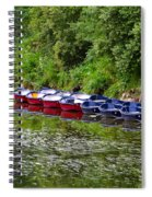 Red And Blue Boats On The River Coquet Spiral Notebook