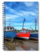 Red And Blue Fishing Boats Tenby Port Spiral Notebook