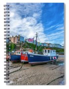Red And Blue Fishing Trawler In Low Tide Spiral Notebook