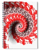 Red And White Fractal Spiral Notebook