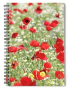 Red And White Wild Flowers Spring Scene Spiral Notebook