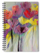 Red And Yellow Floral Field Painting Spiral Notebook