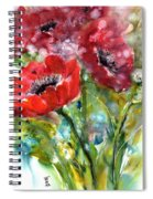Red Anemone Flowers Spiral Notebook