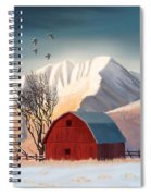 Red Barn Snow Western - Countryside Painting Spiral Notebook