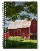 Red Barn With White Arched Door Trim Spiral Notebook