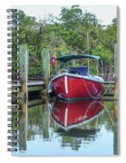 Red Boat Docked Florida Spiral Notebook