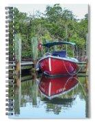 Red Boat Docked Florida Spiral Notebook