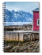 Red Boathouse In Norris Point, Newfoundland Spiral Notebook