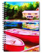 Red Boats At The Lake Spiral Notebook