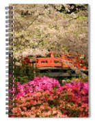Red Bridge And Blossoms Spiral Notebook