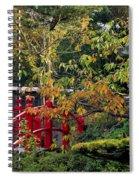 Red Bridge & Japanese Lantern, Autumn Spiral Notebook