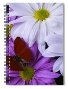 Red Butterfly On Assorted Mums Spiral Notebook