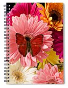 Red Butterfly On Bunch Of Flowers Spiral Notebook