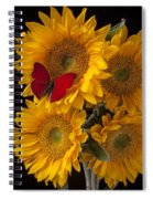Red Butterfly With Four Sunflowers Spiral Notebook