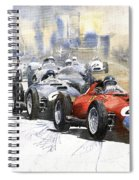 1957 Red Car Ferrari 801 German Gp 1957  Spiral Notebook