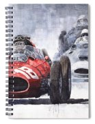 Red Car Ferrari D426 1958 Monza Phill Hill Spiral Notebook