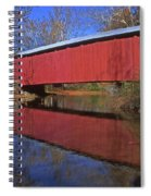 Red Covered Bridge And Reflection Spiral Notebook