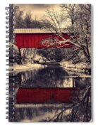 Red Covered Bridge In Winter Spiral Notebook