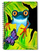 Red Eyed Tree Frog And Purple Butterfly Spiral Notebook