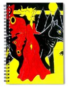 Red Faerie And Black Wolf With Yellow Moon Spiral Notebook
