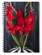 Red Gladiolus In Striped Vase Spiral Notebook