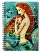Red Hair Mermaid Mother And Child Spiral Notebook