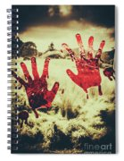 Red Handprints On Glass Of Windows Spiral Notebook