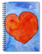 Red Heart On Blue Spiral Notebook