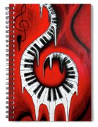 Red Hot - Swirling Piano Keys - Music In Motion Spiral Notebook