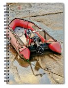 Red Inflatable Boat With Motor In Musselburgh Haven. Spiral Notebook