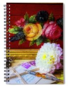 Red Letter Box And Dahlias Spiral Notebook