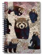Red Panda Abstract Mixed Media Digital Art Collage Spiral Notebook