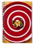 Red Plate And Yellow Black Butterfly Spiral Notebook