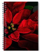 Red Poinsettia Happy Holidays Card Spiral Notebook