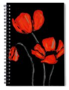 Red Poppies On Black By Sharon Cummings Spiral Notebook