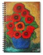 Red Poppies In Blue Vase Spiral Notebook