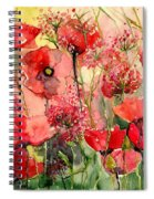 Red Poppies Wearing Pink Spiral Notebook