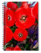 Red Poppy Cluster With Purple Lavender Spiral Notebook