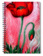 Red Poppy Flower. Pink Sunset Spiral Notebook