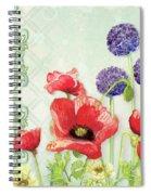 Red Poppy Purple Allium IIi - Retro Modern Patterns Spiral Notebook