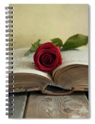 Red Rose On An Old Big Book Spiral Notebook