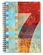 Red Seven And Stripes Mixed Media Spiral Notebook