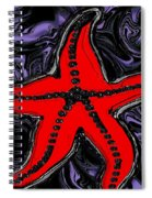 Red Starfish In Stormy Seas Spiral Notebook