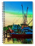 Red Sunrise And The Shrimp Boat Spiral Notebook