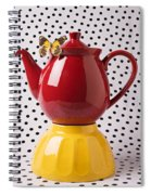 Red Teapot With Butterfly Spiral Notebook
