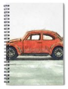 Red Vw Beetle Bug Pencil Spiral Notebook