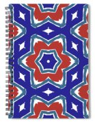 Red White And Blue Star Flowers 1- Pattern Art By Linda Woods Spiral Notebook