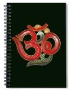 Red Wooden Om Green Mandala Spiral Notebook