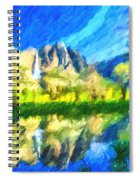 Reflection In Merced River Of Yosemite Waterfalls Spiral Notebook