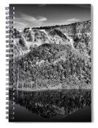 Reflection Of Wizard Island Crater Lake B W Spiral Notebook